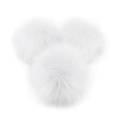 Lunji. 1 Stück Bommel aus Kunstfell, abnehmbar – Basteln für Mützen, Freizeit Gr. 8 cm, weiß