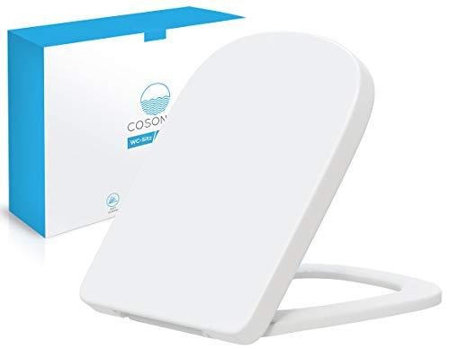Cosondo Premium WC Sitz eckig – Toilettendeckel mit Absenkautomatik rechteckig– passend für Keramag Renova Nr.1 – Klodeckel abnehmbar quadratisch- Toilettensitz viereckig – Klobrille robust