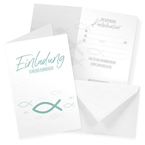 itenga Klappkarten Fisch DIN A6 6 Stück Einladungen Menükarten Postkarten Taufe Kommunion Konfirmation für Jungen und Mädchen (Kommunion Türkis)