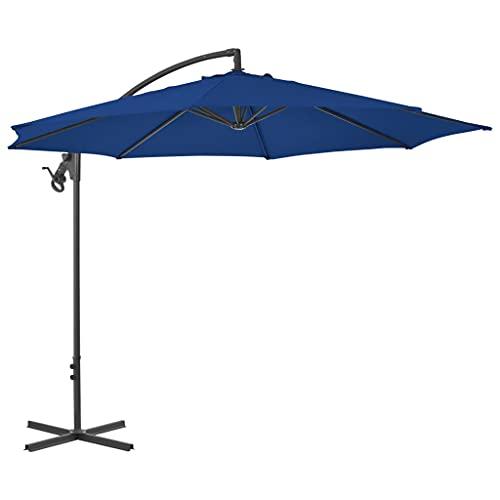 vidaXL Sombrilla Voladiza con Poste Parasol Exterior Patio Terraza Protección contra Rayos Ultravioleta Playa Piscina Toldo Acero Azul Celeste 300 cm