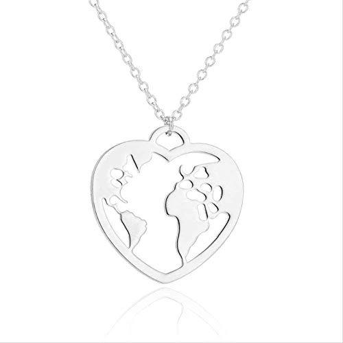LBBYMX Co.,ltd Collar de Moda Origami Wanderlust Corazón Mapa del Mundo Collar Collar de Acero Inoxidable Joyería Mapa Amor Collares Pendientes Viaje Tierra Neklace para Mujeres