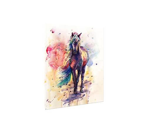 FQJNS Horse Watercolor Wall Art Image Oil Painting Canvas Prints for Home Office Bedroom Decorations Framed Ready to Hang Size 16'X20'(40cmx50cm)