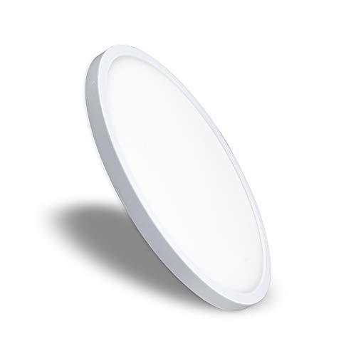 VIPMOON 24W Luz de Techo LED, 6500K Blanca Fría Lámpara de Techo Redonda Ultrafina de 23cm/9in, 2160LM Panel de Luz LED Montado en Superficie Interior para Baño Cocina Pasillo Escalera, CE/LVD/EMC
