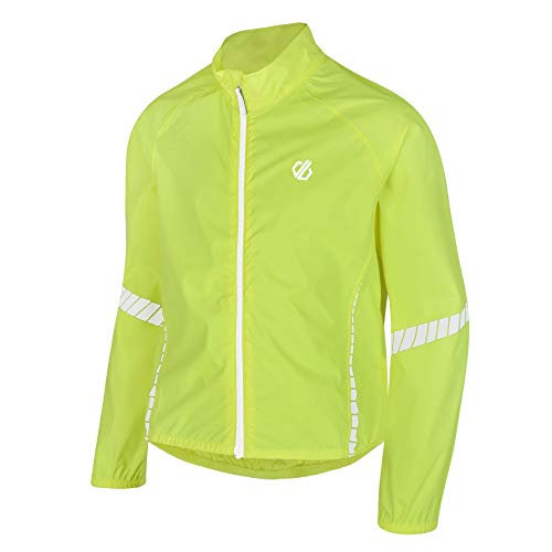 Dare 2b Kinder Cordial Waterproof and Breathable Lightweight Reflective Cycling Shell Jacke, Gelb (Fluro Yellow), Gr. 152