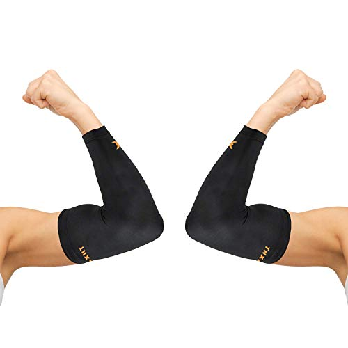 Thx4COPPER Elbow Compression Sleeve(1 Pair) - #1 Copper Infused Support –Guaranteed Recovery Copper Elbow Brace-Idea for Workouts, Sports, Golfers, Tennis Elbow, Arthritis, Tendonitis-Large