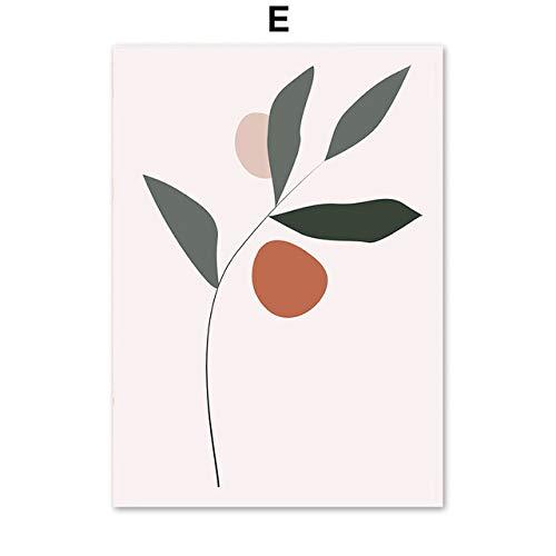LiMengQi2 Resumen Flor Mujer Cara Línea Naranja Imagen sobre Lienzo para Carteles de Pared Imágenes nórdicas de Pared para Sala de Estar Decoración del hogar (sin Marco)