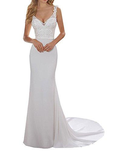 Special Bridal Satin Abendkleider Meerjungfrau Brautkleid V-Ausschnitt Brautkleid Long Party Dress