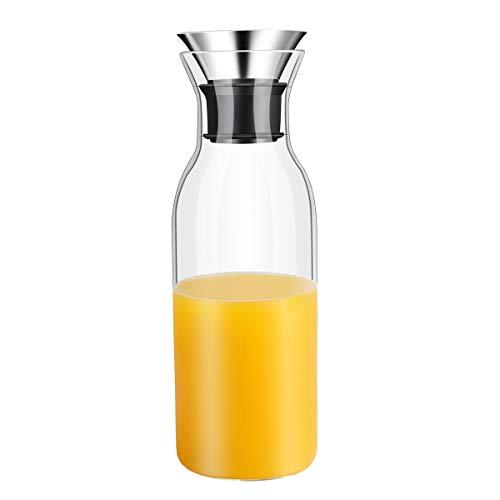 OTARTU - Caraffa in vetro borosilicato con coperchio antigoccia, per piano cottura, 1000ml, in vetro, per frigorifero, caraffa per il ghiaccio, per succo di frutta