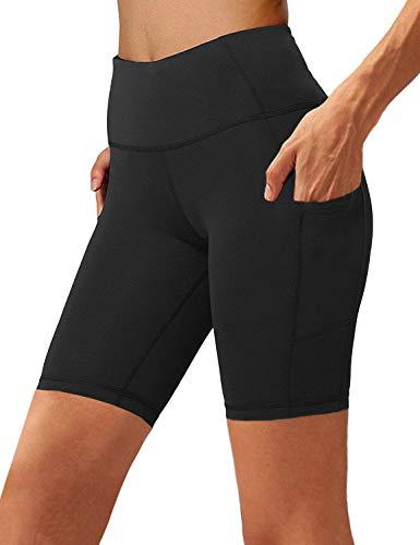Aoliks Women s High Waist Yoga Short Side Pocket Workout Tummy Control Bike Shorts Running Exercise Spandex Leggings (Black, L)