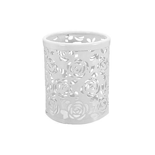 Homiki Rosen-Muster-Stifthalter Multi Usage Hohle Blumen-Bleistift-Schale Exquisite Metallfeder Schreibtisch Container Weiß 1pc Mäppchen