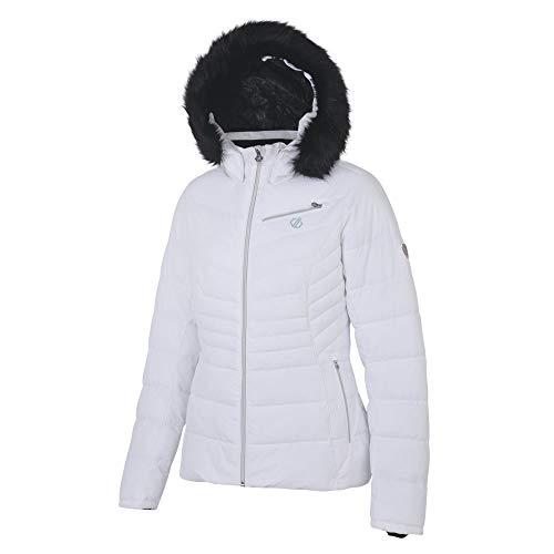 Dare 2b Damen Glamorize Waterproof & Breathable High Loft Insulated Ski & Snowboard Jacket with Detachable Faux Fur Hood and Snowskirt wasserdichte, isolierte Jacken, Weiß (Weiß), 16