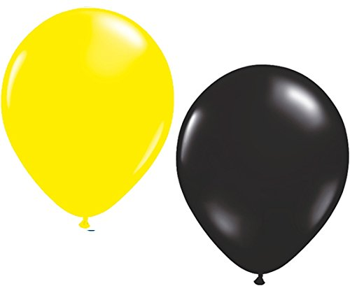 Unbekannt 50 Luftballons je 25 x gelb & schwarz Partyballons 27 cm Ø