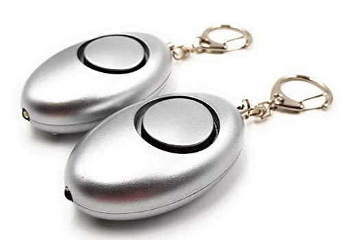 ocona 2er Pack Taschenalarm, Selbstverteidigung, Sirene 140dB, LED-Lampe (Silber)