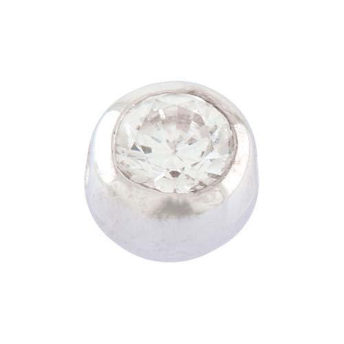 PIERCINGLINE® 18 Karat Weißgold Klemmkugel KRISTALL 5 mm KugelKristallklar