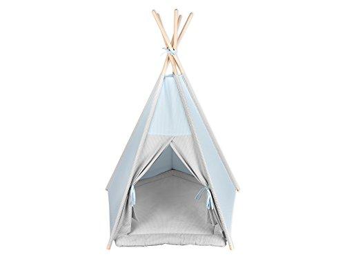 KraftKids Spielzelt-Tipi kleine Blätter hellblau auf Weiß, Indianer-Zelt zum Spielen für Kinder, Kleinkinder und Babys, ohne Spielmatte