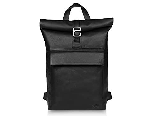 """PURE Leather Studio Mochila roll-top de cuero POLIS - Piel auténtica para mujer y hombre 16-20 L I Mochila enrollable para ordenador portátil hasta 16"""" negra"""