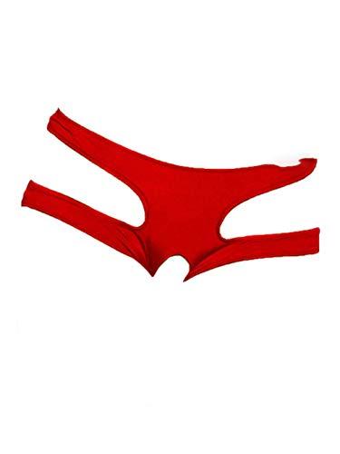 Boowhol Frauen Unterwäsche Rückenfrei Ouvert Sexy Tanga Unterhosen Panty groß Größe (4XL, Rot)