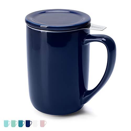 Sweese 203.103 Teetasse mit Deckel und Sieb, Tee tassen Porzellan für Losen Tee Oder Beutel, Dunkelblau, 450 ml