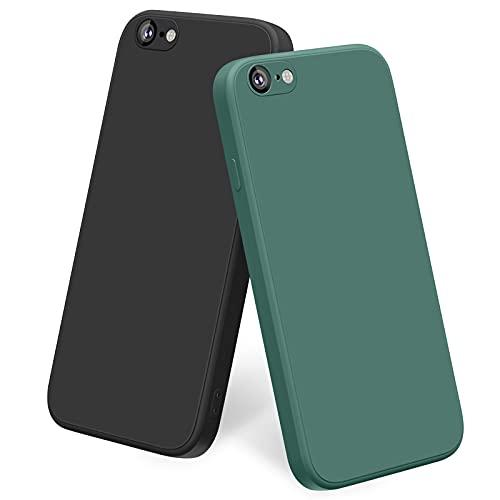 Yisica [2 Pezzi] Cover per iPhone 6   iPhone 6s Custodia Silicone Liquido Ultra Sottile, TPU Cover Protettiva Completa Antiurto con Fodera in Microfibra Anti-Graffio (Nero + Verde Scuro)