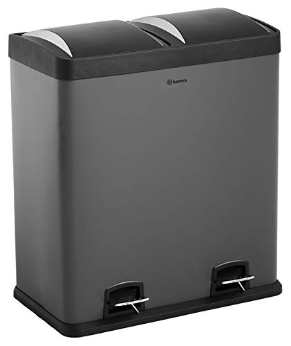 Homra Papelera de reciclaje con 2 compartimentos – Cubo doble pedal 60 l – Cubo de basura – Neviq gris