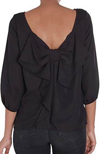 Humble Chic Bow Back Blouse - Long Sleeve Chiffon Top Backless Tunic Shirt, Black Medium