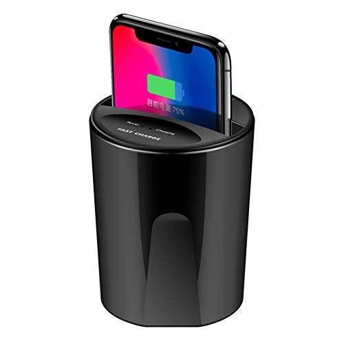 Wireless Car Charging Cup 2 in 1 Multifunctional Car Charger USB Output Ports Support Mobile Phones with A Mobile QI Phone Width Less Than 73Mm
