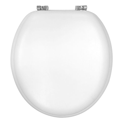 Design Trends Standard Memory Foam Toilet Seat with Chrome Hinges, White