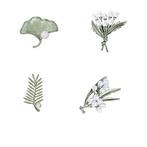 4 Piezas Broches de Perlas de Esmalte Verde, Broches de Perlas de Hojas Vintage, Broches de Decoración de Plantas, Utilizados para fiestas, Bodas y Cumpleaños(Verde Puro)