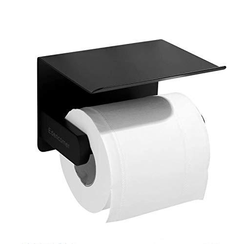 Portarrollos de Papel higiénico, Soporte de Papel higiénico Inoxidable con Estante para baño, sin taladrar y montado en la Pared con Tornillos, Acero Inoxidable Sus 304 (Negro)