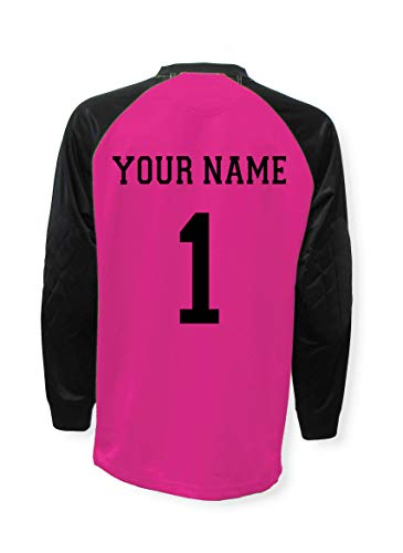 Soccer Goalkeeper Jersey Personalized with Your Name and Number - Raspberry - Size Youth Medium