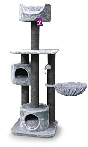 Petrebels Maine Coon Kratzbaum Maxima 175 cm Grau Farbe, mit 2 Liegehöhlen, XL Kuschelsofa mit Kissen (Waschbar) und Hängematte, Ideal für große Katzen