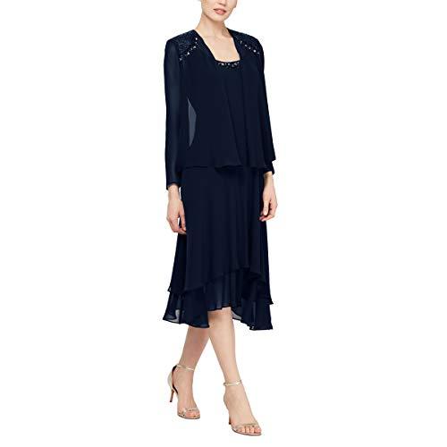 S.L. Fashions Women's Embellished Chiffon Tiered Jacket Dress, Navy, 10 2 Piece Blue Dress