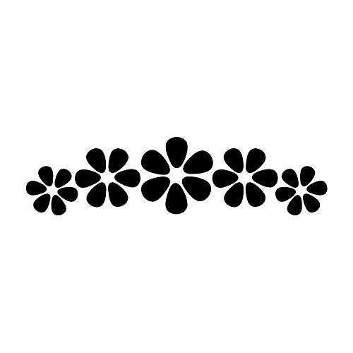 XLYDF Calcomanía decorativa de vinilo para coche, 17 cm x 4,5 cm, con diseño de flores pequeñas, color negro