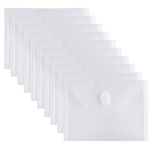 GeorgeBaker 10 Packs Small Plastic Envelope with Hook & Loop Closure, Poly Envelope for Coupon Receipt Cards 5 1/2 x 7 1/2