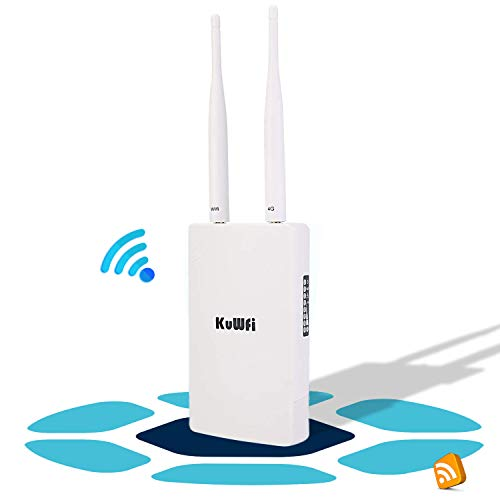 KuWFi Router 4G LTE, 150Mbps 3G 4G LTE Router CAT4 con Slot per schede SIM Funziona con Telecamera IP o Copertura WiFi Esterna con Antenna 2pcs Funziona con 3 (Tre)   Tim Wind Vodafone SIM Card