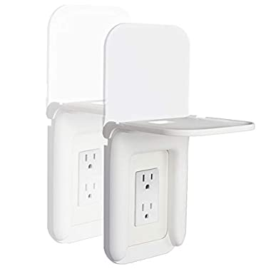 HIIMIEI Outlet Shelf for Smart Home Speakers,Foldable Space-Saving Power Perch Storage for Charging Phones,Tablets,Electric Toothbrush etc.(White 2Pack)