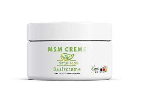 Natur Total MSM Creme organischer Schwefel - 150 ml – MSM Pulver MSM Schwefel eingearbeitet in Basiscreme nach DAC Deutscher Apotheken Codex -