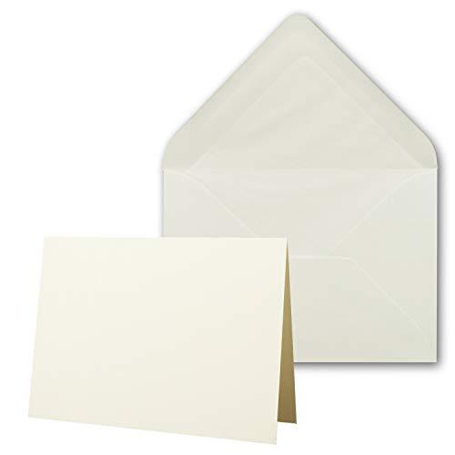 25 x Kartenpaket mit gefütterten Brief-Umschlägen - gerippt - DIN A6/C6 - Naturweiß - 10,5 x 14,8 cm - Nassklebung - NEUSER PAPIER