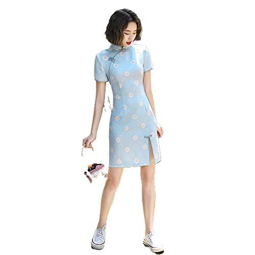 Sweet-Candy Chinesisches traditionelles Kleid Mädchen Kurz Qipao Kranich Print Chinesischer Stil Mini Cheongsam Party...