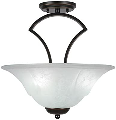 Toltec Lighting 565-DG-53615 Zilo Semi Flush with 3 Bulbs with White Marble