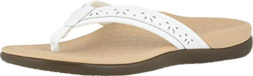 Vionic Women's Casandra Toe-post Sandal - Ladies Everyday Sandals with Concealed Orthotic Arch Support White 8 Medium US