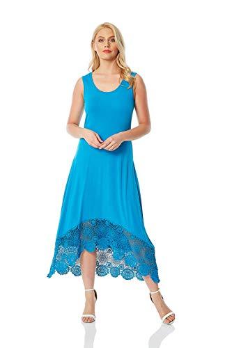 Roman Originals dames midi-jurk met gehaakte boord - dames knielange jurken, mouwloos, ronde hals, alledag, casual, lente, zomer, licht, jersey