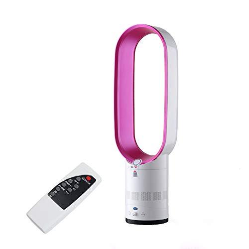 Ventilador Sin Aspas, Enfriador De Aire De Seguridad De Iones Negativos Silencioso De Suelo, Ventilador De Torre Con Control Remoto Y Función De Oscilación Y Función De Sincronización (Pink)