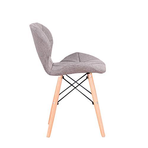 Silla de respaldo nórdico de madera maciza perezosa casa silla de escritorio silla de comedor, silla de tela PU/terciopelo/arpillera (Brown-mb, 4)