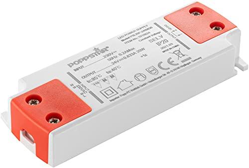 Poppstar Transformador Slim LED 24 V (para bombillas LED de 0,2 hasta 20W), transformador LED 230V AC / 24 V DC 0,83A
