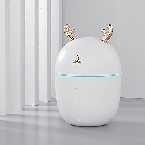 YMZ 300ML Mini humidificador ultrasónico USB Humidificador Lindo Pet Deer Cool Mist Aroma Air Oil Difusor con lámpara LED para dormitorio Baby Kid Car Fogger Humidificador (Blanco)
