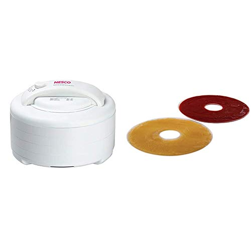 Nesco Snackmaster Express dehydrator, 13.5 inches X 9.75 inches, White & LSS-2-6, Fruit Roll Sheets for Dehydrators FD-28JX, FD-37, FD-60, FD-61, FD-61WHC, FD75A and FD-75PR, Set of 2.,White