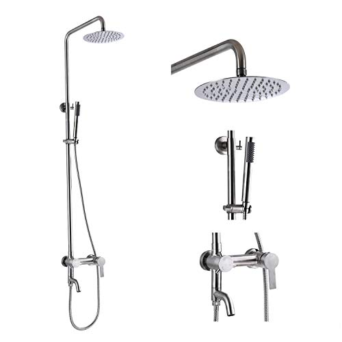 Stainless Steel SUS304 Shower Faucet 8 Inch Rainfall Shower Head Cylinder Handle Brushed Nickel Exposed Shower Fixture Wall Mount Shower System With Hand Spray