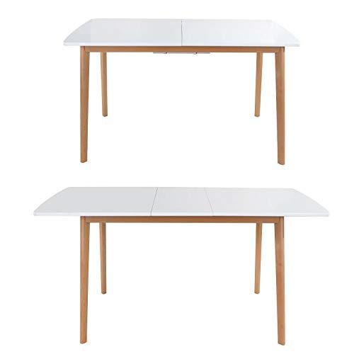 BENEFFITO SENJA - Mesa Extensible 120/160 x 80 cm - Tablero de MDF - Diseño Moderno y Minimalista - Mantenimiento Fácil - Blanca