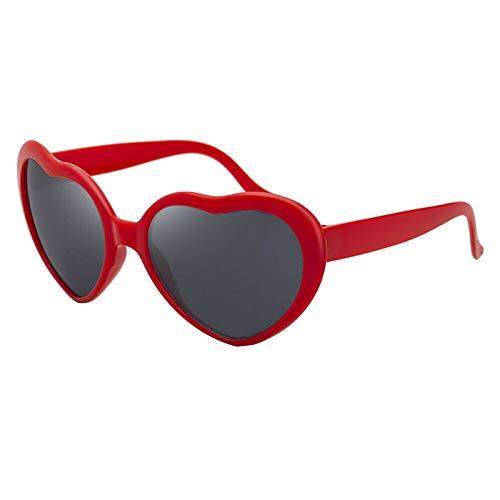 Gafas de corazón, marco de difracción en forma de corazón, gafas de refracción de fuegos artificiales, luz de fiesta se convierte en amor, efecto especial, regalo de ojos (rojo)